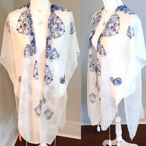 White and Blue Kimono Coverup Boho Embroidered